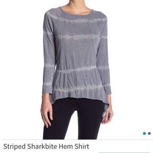 Go Couture striped shark bite hem top